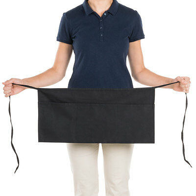 1 new heavy duty cocktail apron black 12x20 3 pockets tips server money pockets