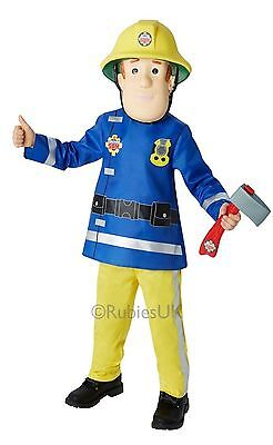 Boys Fireman Sam Fancy Dress Costume Top/trousers/hat Axe Fire Fighter