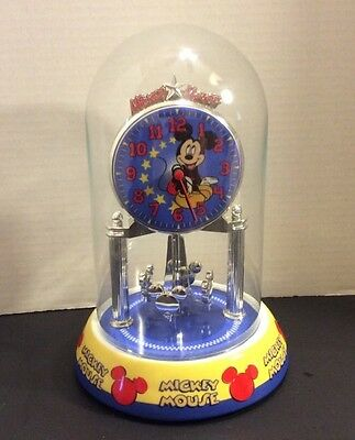 """Disney Mickey Mouse Glass Domed Clock 9"""" Tall"""