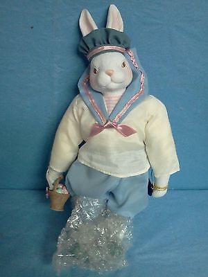 "Brinn's 1989 Porcelain Bunny Doll Sailor with Easter Basket with Tag 10"" Tall"