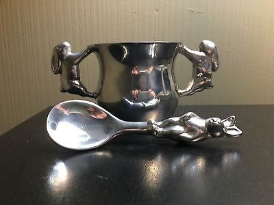 Mariposa Silver Bunny Rabbit Mug And Spoon Handled Cup Bowl