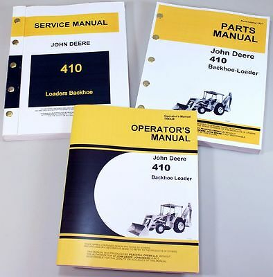 Set John Deere 410 Backhoe Loader Service Parts Owner Manual Repair Operator