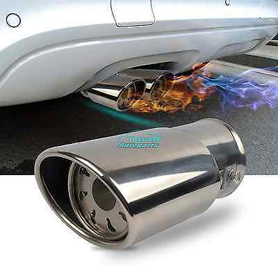 """Universal 2.5""""Car Oval Tip Stainless Steel Exhaust Muffler Tail Vent Pipe Chrome"""
