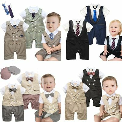2017 NEW 3-18M Baby Boy Tuxedo Bow tie Vest Wedding Party Outfits Romper