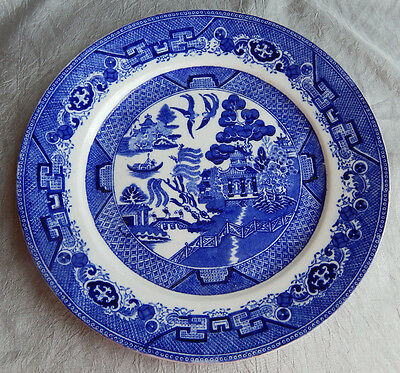 Antique Flow Blue China Plate Willow Stoke Upon Trent England #004