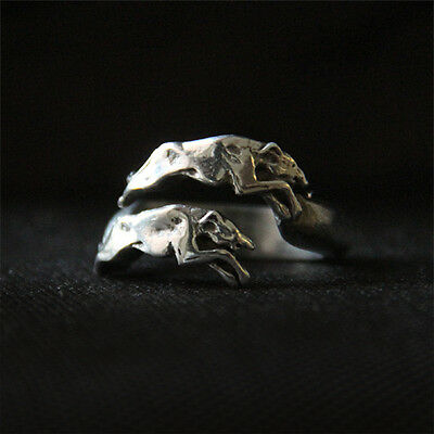 Pewter Greyhound Ring - Racing Whippet Galgo Sighthound Jewelry