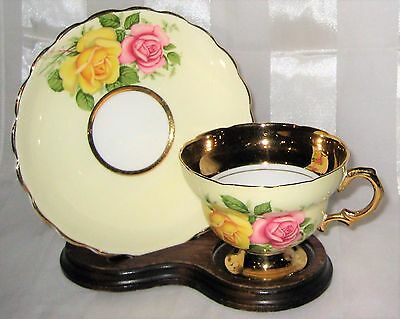 Stunning - Rosina - Roses and Gold - Fancy Footed Teacup Set