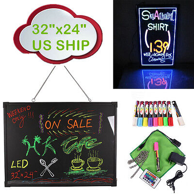 """LED Menu Board 32"""" x 24"""" Message Sign Display Dry Erase Fluorescent Neon Writing"""