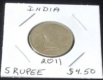VERY NICE India (Calcutta Mint) 2011 Five RUPEES Coin