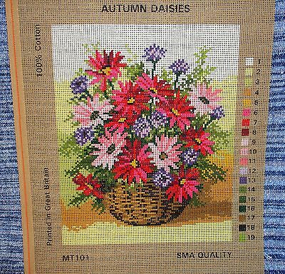 Needlework Tapestry Canvas Autumn Daisies Basket Cornflowers Daisy Flowers Gift