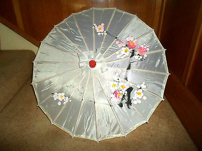 Fab Small Retro Oriental Style Fabric+Wood Parasol-Stage Prop-Display-Photoshoot