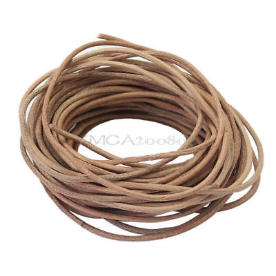 9M Natural Color Round Leather Necklace Jewelry Making Cord String Crafts 2mm