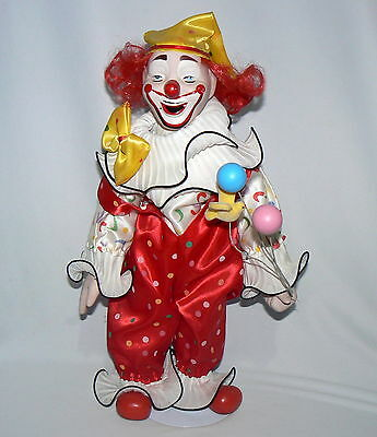 "16"" Heritage Mint Collection Porcelain Colorful Clown Party W/ Stand Red Yellow"
