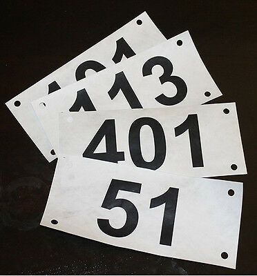 "Race Numbers: set of 100 economy competitor tryout Tyvek bib numbers 3.5""x8"""