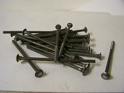 "Vtg 3/16-24 X 4"" Carriage Bolts Plain Steel with Square Nuts Made in USA Qty. 25"