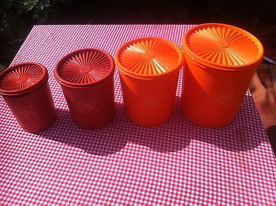Vintage Retro Orange Tupperware Storage Containers x 4 With Fan Lids Tall/Round