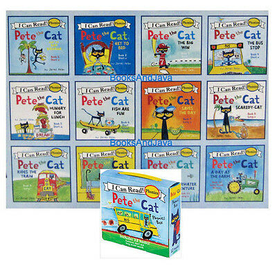 I CAN READ PHONICS Pete the Cat 12 Books Box Set short and long vowel sounds NEW