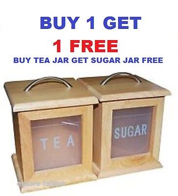 Wooden Tea Sugar Storage Canisters Set Chrome Handle Kitchen Home Buy 1 + 1 Free