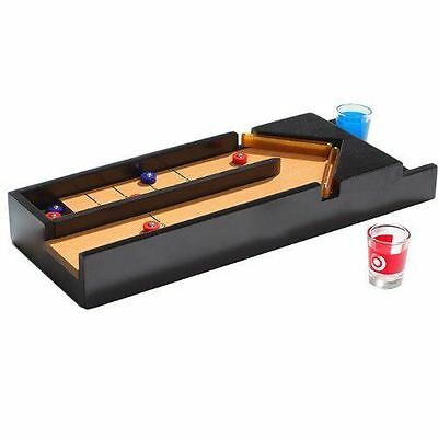 Wooden Drinking Shuffleboard Game With 2 Shot Glasses Xmas Fun Drinks Games