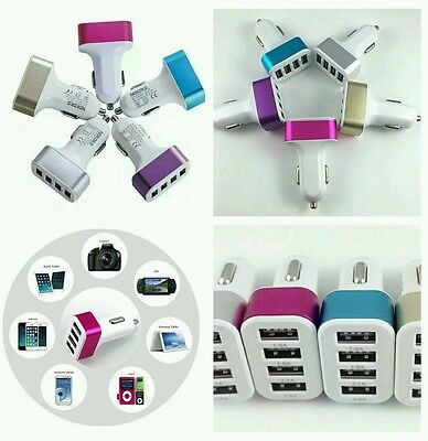 Lot 10 Car USB 4 Ports Charger 5V 5.1A  Adapter For iPhone 5/6/6s HTC Samsung LG