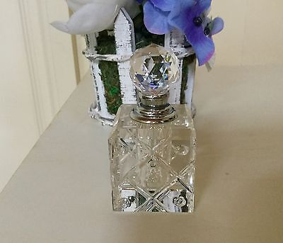 Clear Cut Crystal Refillable Spray Cylinder Perfume Bottle Automiser Stopper