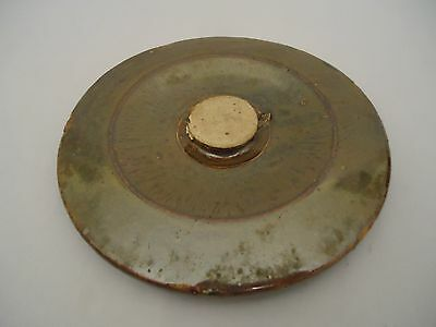 """Crock Lid Only Brown Pottery Antique Primitive Stoneware 7"""" Dia Top Replacement"""