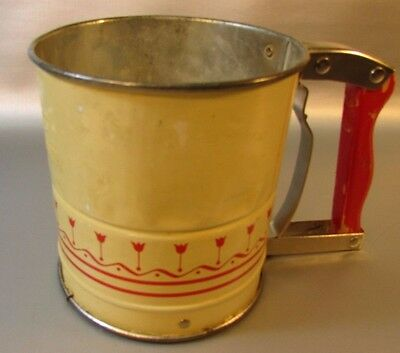 VINTAGE ANDROCK HAND-I-SIFT FLOUR SIFTER Yellow Tulips Flowers Red Handle