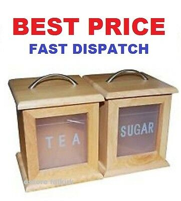 Wooden Tea Sugar Storage Canisters  With Chrome Handle Kitchen Home Office Shop