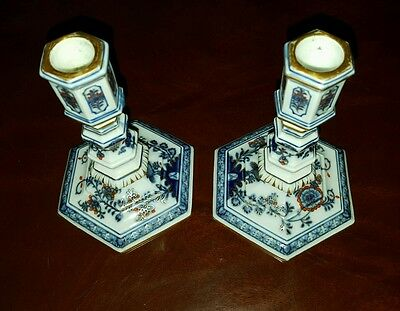 "Pair of 19 Century Meissen Candle Holders 5 1/4"" Tall & Hand Painted Very Rare"