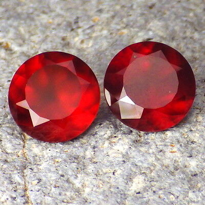 HESSONITE GARNET-MOZAMBIQUE 6.69Ct TW MATCHING PAIR-COLLECTORS GRADE GEMSTONES!