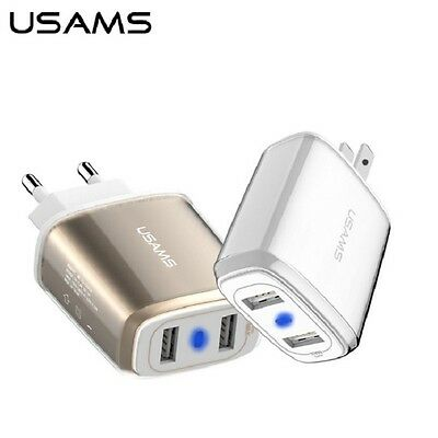 USAMS Universal Dual USB Travel Fast Wall Charger Adapter 5V 3.4A  US EU