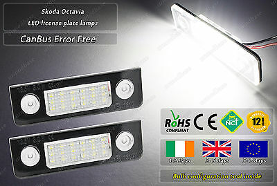 2x Canbus LED No Error Free Skoda Octavia MK2 1Z 04-13 License Plate Lamps Bulbs