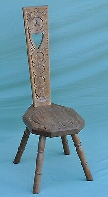 Beautiful Wooden 4 Legged Hand Carved High Back Spinning Chair Stool Scottish ??