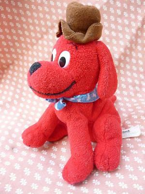 "Clifford the Big Red Dog Beanie Soft Toy 7"" wearing hat"