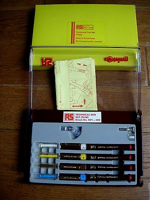 Vintage Rotring Rapidograph - 4 pens + Radius Attachments Technical Drawing Set
