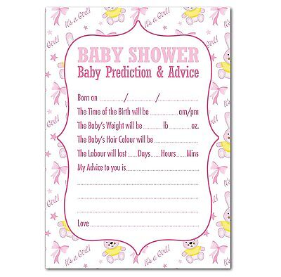 Baby Shower Prediction & Advice Game, Pack of 16, Girls (Pink) Bunny