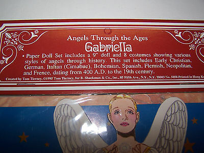 """Lot of (12) """"GABRIELLA"""" Angels Through The Ages Paper Doll 8 Costumes Shackman"""
