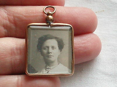 Antique Victorian Rolled Gold Double Sweetheart Photo Locket Pendant Fob