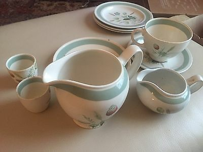 Vintage 1960s Wood & Sons - Clovelly - Blue/Green/Teal Jugs Egg Cups Plates Cup