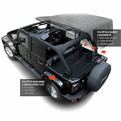 GPCA 4DR Jeep Wrangler Cargo Cover LITE+Organizer,Freedom Pack for JKU 2007-2018