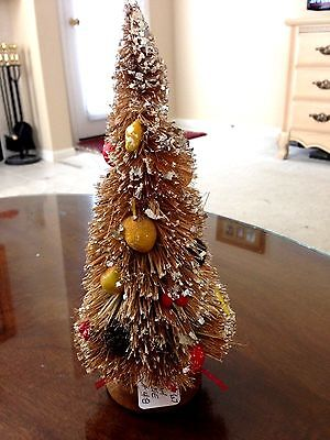 """VINTAGE BOTTLE BRUSH TREE Filled with Mica & Mixed Composition Fruit  Japan 10"""""""