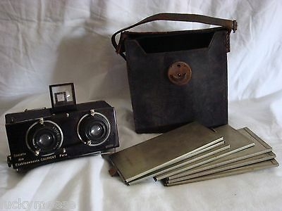Gaumont 3D Stereo Camera Spido, Model D Carrying Bag, and 7 Plates Panoramic ??