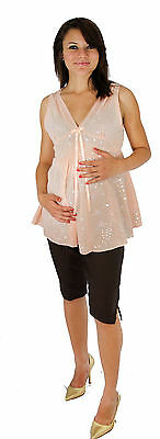 Sleeveless Pink Peach Maternity Set Womens Blouse Pregnancy Outfit Set
