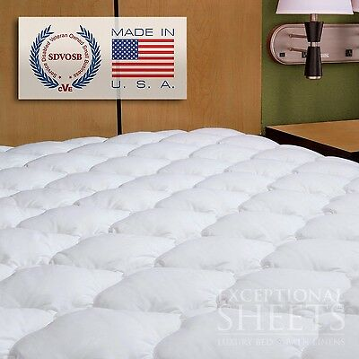 Waterproof Extra Plush Quilted Fitted Mattress Topper Pad Full White