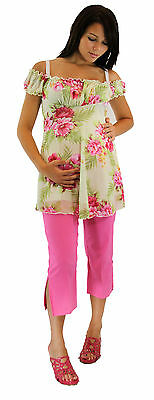 Pink Vintage Floral Maternity Two Piece Set Outfit Capris Hot Pink