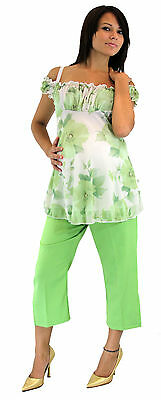 Green Cream Vintage Floral Maternity Two Piece Set Outfit Capris