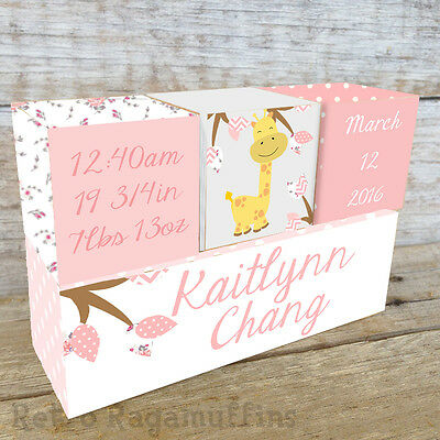 Personalised Wooden Name Birth Blocks Custom Made Pink Giraffe