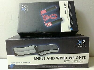 XQ Max Ankle And Wrist Weights 0.5kg & Skipping Rope with Counter New Boxed