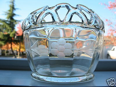 Rare 1930 Rose Bowl Imperial Glass Clear Wheelcut Floral Design Panelled