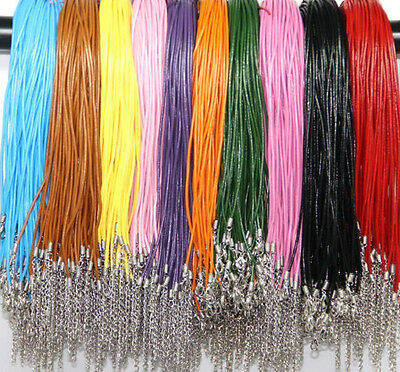 Wholesale 5/10/20/100pcs Real Leather Cord Necklace Lobster Clasp Charms 2mm